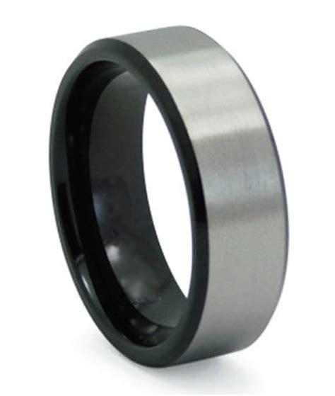 black titanium mens wedding band matte finish