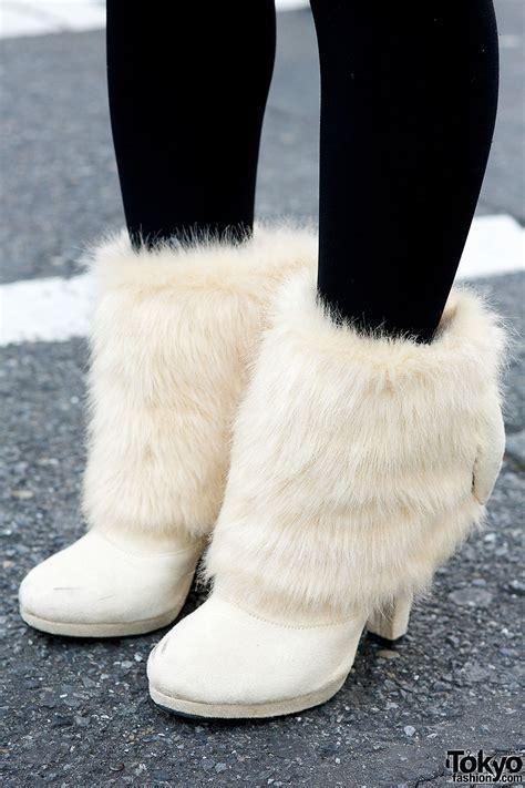 fur boots camel coat faux fur boots fuzzy beret in harajuku