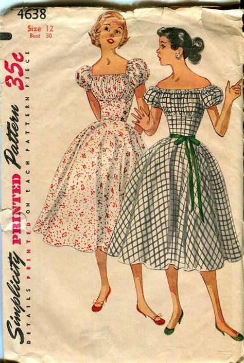 free pattern rockabilly dress simplicity 4638 uncut vintage 1950s dress rockabilly pattern