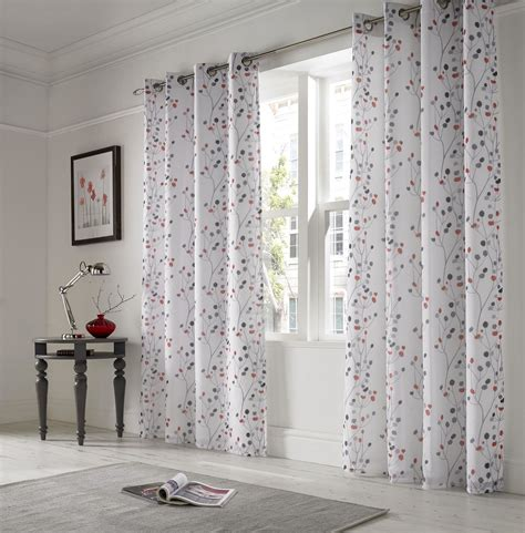white lined drapes linen look floral red white lined ring top voile curtains