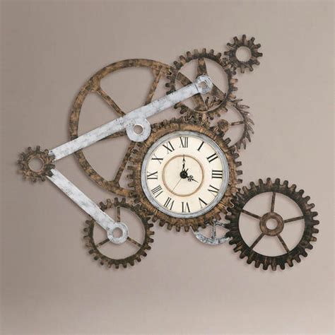 wall clock art gear wall art with clock eclectic clocks by cost