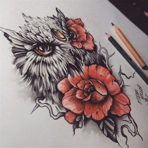 owl and rose tattoo owl roses eye by edwardmiller on deviantart i loooove