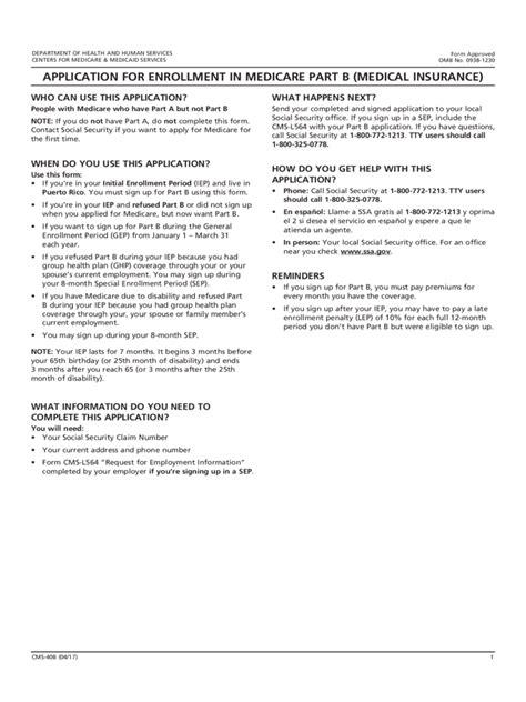 Resume Medicare Application social security medicare enrollment form 2 free