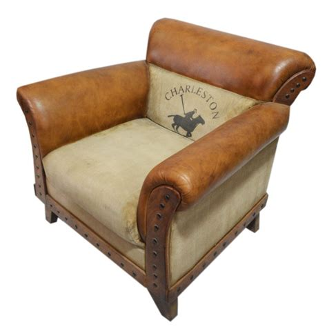 aged brown leather aged leather brown armchair charleston polo