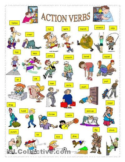 printable pictures verbs action verbs worksheet free esl printable worksheets