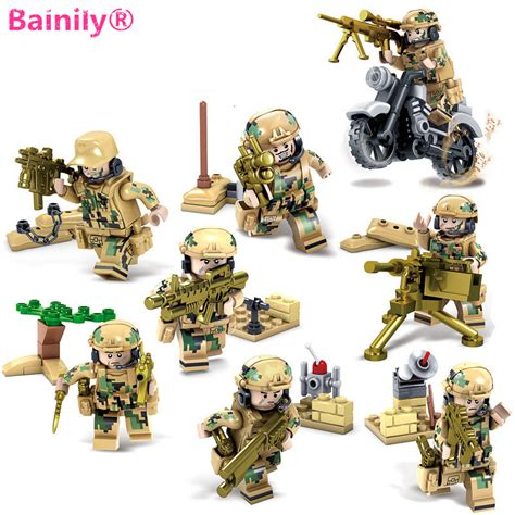 Mainan Bricks Army Ww Ii Set By Doll aliexpress buy bainily 8pcs set weapons army soldiers building set blocks toys for