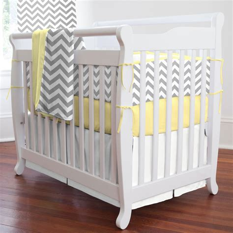 Gray And Yellow Zig Zag Mini Crib Blanket Carousel Designs Baby Mini Crib Bedding