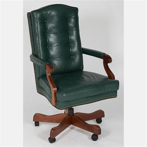 green leather office chair a contemporary green leather upholstered office chair 20th