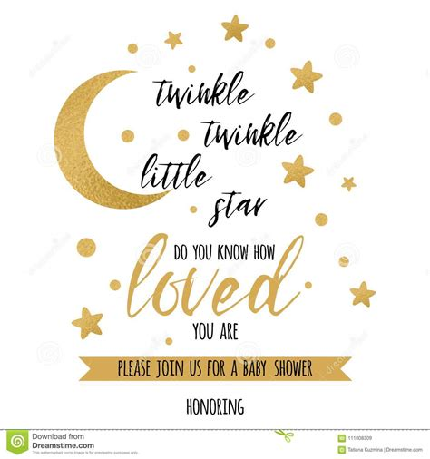 Twinkle Twinkle Card Templates To Print by Twinkle Twinkle Text With Gold And Moon