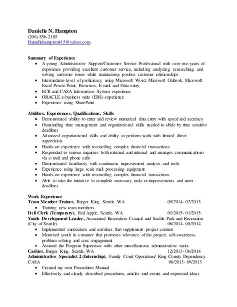 Resume Experience Summary 2015 Resume With Summary