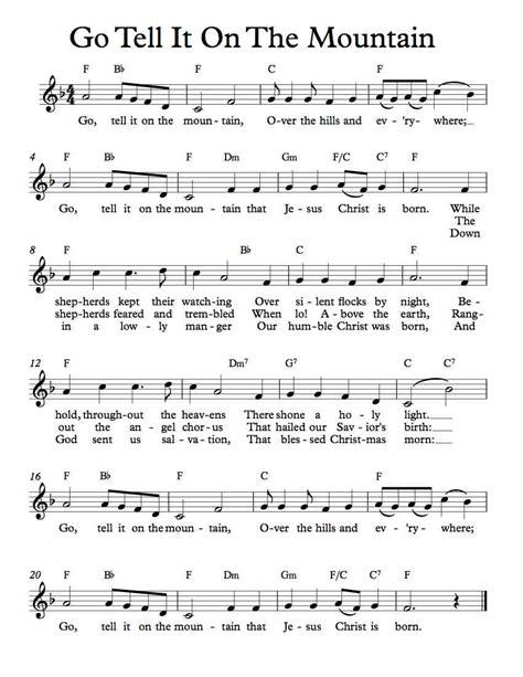 printable lyrics go tell it on the mountain free lead sheet go tell it on the mountain michael