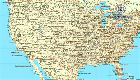 map of canada and usa with cities us canada printable vector road map editable adobe