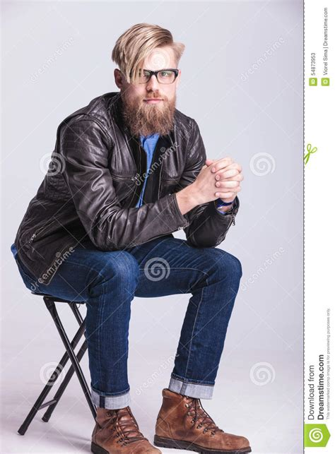 Casual Sitting Chairs Smart Casual Blond Sitting On A Chair Stock Photo