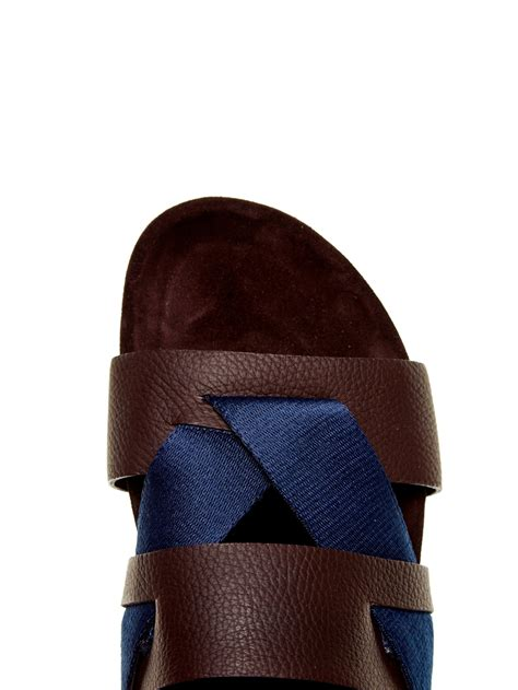mens lanvin sneakers lanvin leather and sandals in blue for lyst