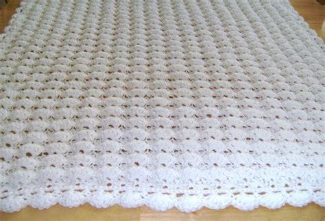 White Pattern Blanket | crochet white baby blanket shell pattern handmade girl boy
