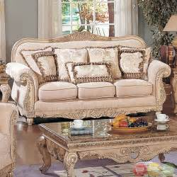 traditional antique white formal sofa set with carved