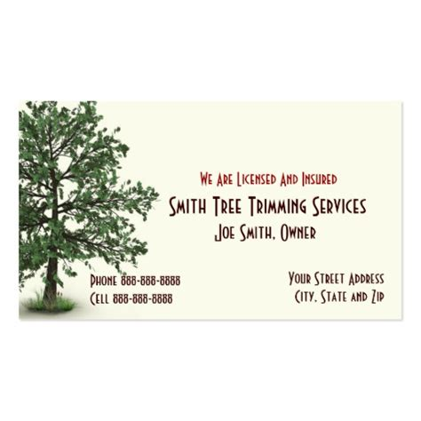 tree trimming business card template - Tree Service Business Cards