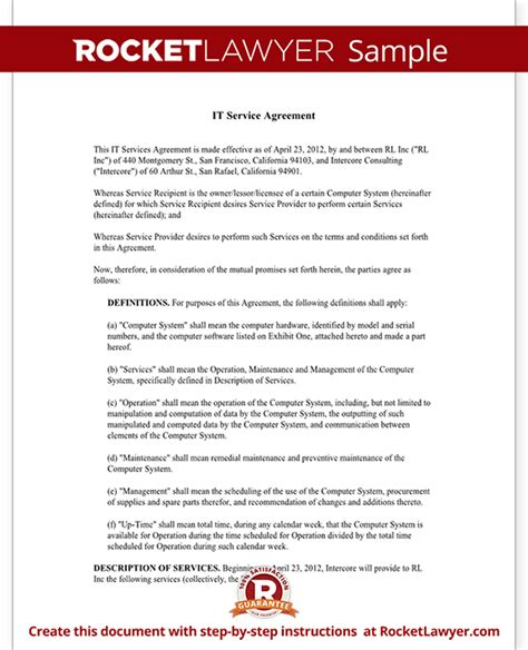 It Service Contract Agreement Template With Sle Services Agreement Template