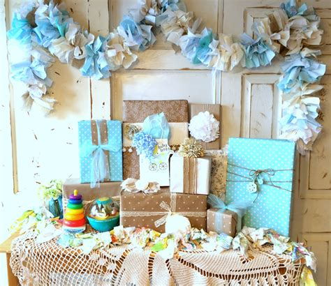 Handmade Birthday Decorations - burlap and blue baby shower decoration 6 10 foot fabric