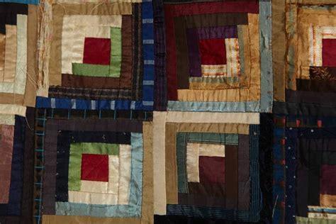Cabin Raising Quilt by Antique Log Cabin Barn Raising Pieced Silk Quilt For Sale