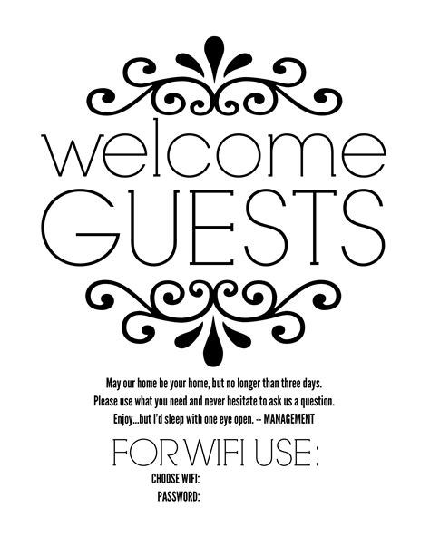 Diy Guest Room Basket With Free Printable Sign Free Wifi Poster Template