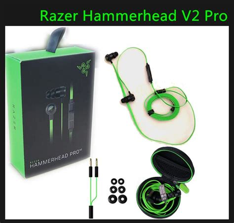 Razer Hammerhead V2 In Ear Headset Free Pouch razer hammerhead v2 pro earphone with microphone in ear gaming headsets noise isolation stereo