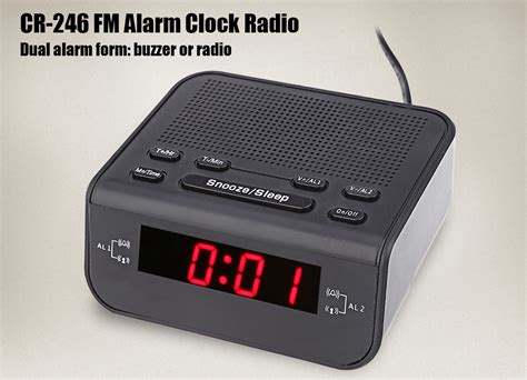 dropshipping for cr 246 fm digital display led alarm clock radio dual mode snooze to sell