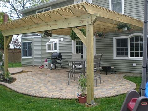 wood designs of pergola connected to house patio