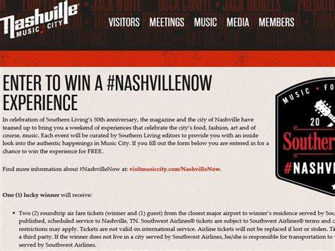 southern living s nashvillenow sweepstakes sweepstakes fanatics - Southern Living Sweepstakes 2016