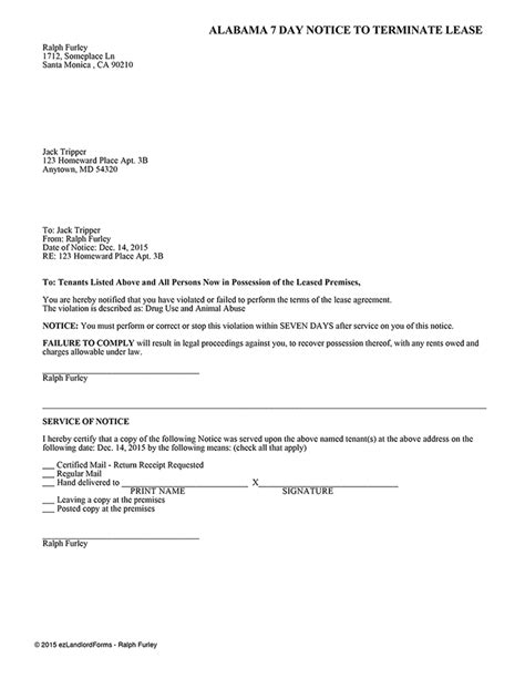 Alabama 7 Day Notice To Terminate The Lease Ez Landlord Forms Written Notice Of Termination Of Lease Template