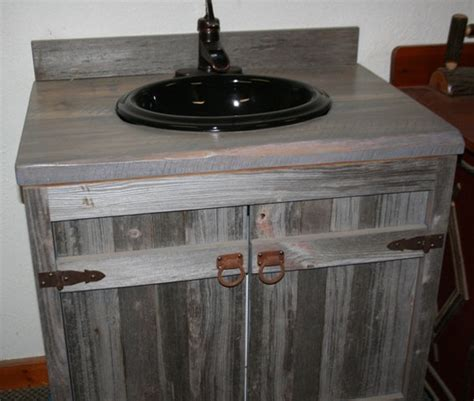 weathered gray reclaimed wood bathroom vanity reclaimed