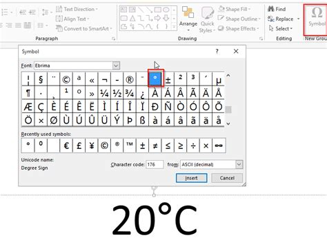how to insert degree celsius symbol in microsoft excel
