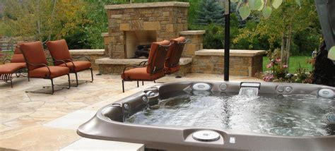 spa with outdoor tub backyard design ideas