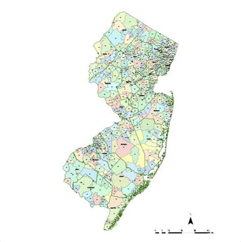zip code map nj editable new jersey map with counties zip codes