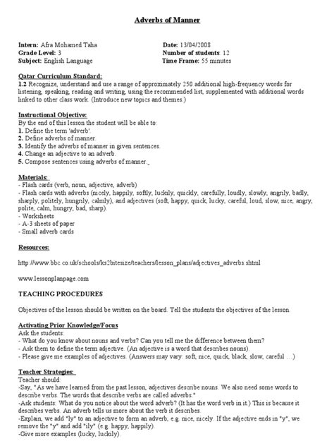writing biography esl lesson plan adverbs of manner lesson plan adverb