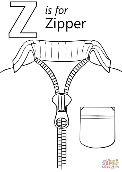 coloring z letter z is for zipper coloring page free printable