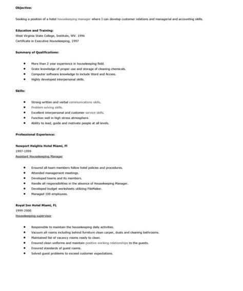 housekeeping resume objective sle resumes design