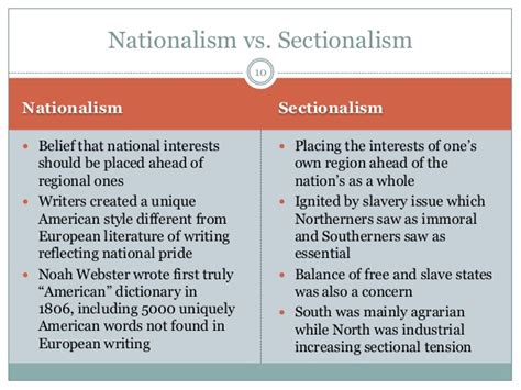 Sectionalism And Nationalism by American Romanticism