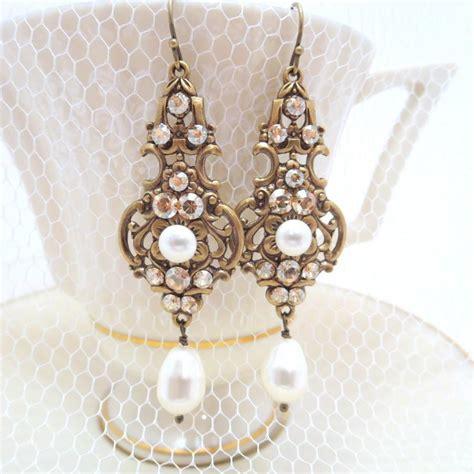 Vintage Style Bridal Pearl Earrings Pearl Earrings Wedding by Chagne Bridal Earrings Wedding Jewelry Pearl Wedding