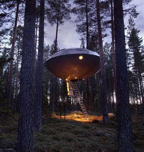 tree house hotel spectacular ufo treehouse hotel my modern met