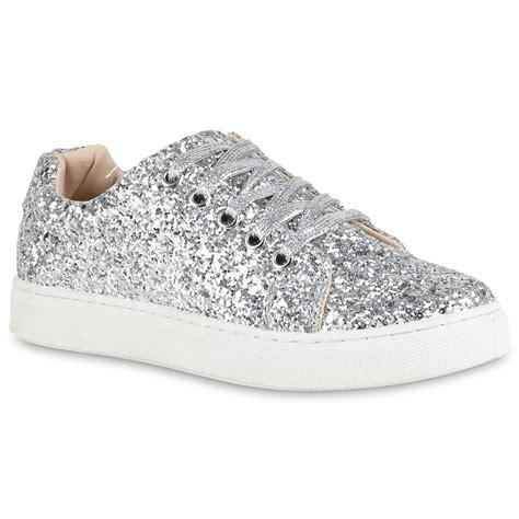 Glitter Sneakers modische damen glitzer sneakers low metallic turnschuhe