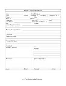 consult note template printable phone consultation form