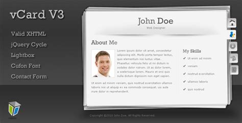 v card template vcard3 unique and professional vcard template by