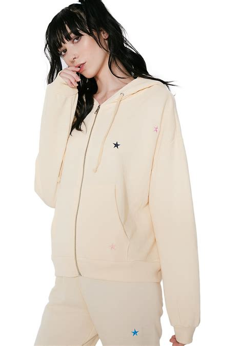 wildfox couture starlet embroidery zip hoodie dolls kill
