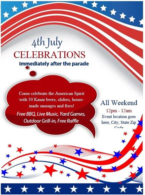 8 Free Sle 4th July Flyer Templates Printable Sles Free Patriotic Flyer Template