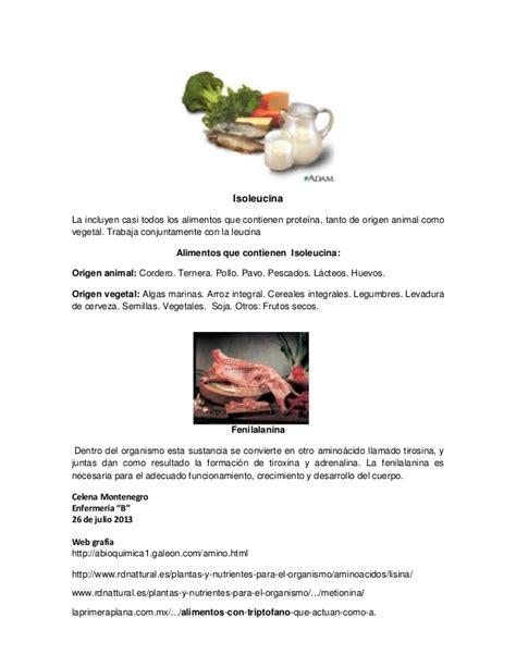 aminoacidos esencialesy los alimentos  lo contienen