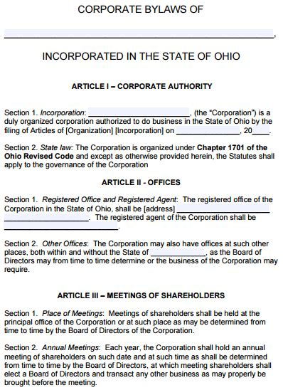 Free Ohio Corporate Bylaws Template Pdf Word Bylaws And Articles Of Incorporation Template