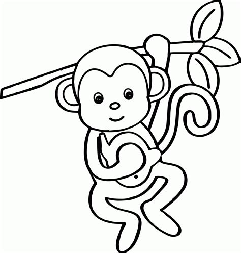 easy monkey coloring page cute baby monkey coloring pages printables coloring home