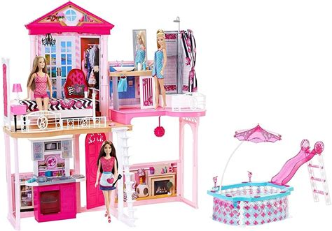 barbie dolls dream house new mattel barbie house 2 story 3 dolls girl dream townhouse play pool toy ebay