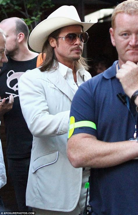 film cowboy brad pitt michael fassbender is spotted filming new movie the